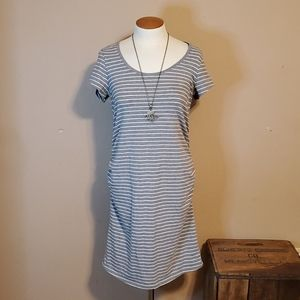 Great Expectations grey & white striped dress Lg